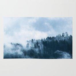 Blue Foggy Rocky Mountains Colorado USA Adventure Rug