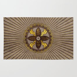Seal of Shamash - Wood burned with gold accents Rug