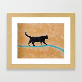 Black Cat on a Wire Framed Art Print