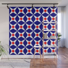 Symmetric patterns 132 red and dark blue Wall Mural