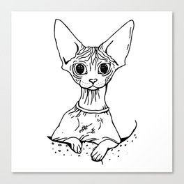 Big Eyed Pretty Wrinkly Kitty - Sphynx Cat Illustration - Nekkie - Cat Lover Gift Canvas Print