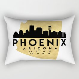 PHOENIX ARIZONA SILHOUETTE SKYLINE MAP ART Rectangular Pillow