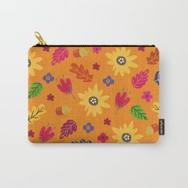 Bright Autumn Fall Leaves Flower Pattern Carry-All Pouch