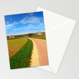 A road, a village and summer season   landscape photography Stationery Cards