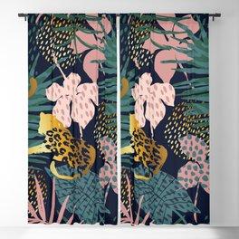 Exotic Golden Jungle Leopard & Pink Palm Leaf Geometric Pattern Blackout Curtain