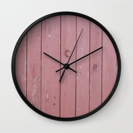 red old rustic wood wall Wall Clock