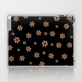 Snowflakes (Orange on Black) Laptop & iPad Skin