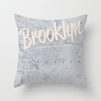 brooklyn Throw Pillows featuring Brooklyn by Dweezle