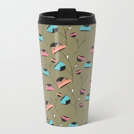 Floral Print Metal Travel Mug