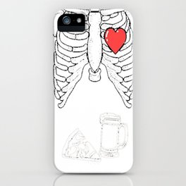 Skeleton Pizza and Beer TShirt Mens Maternity XRay Halloween iPhone Case