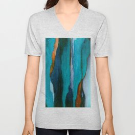 """""""a dark february redux1"""" abstract watercolor painting Unisex V-Neck"""