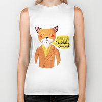nan lawson Biker Tanks featuring Because I'm a Wild Animal by Nan Lawson