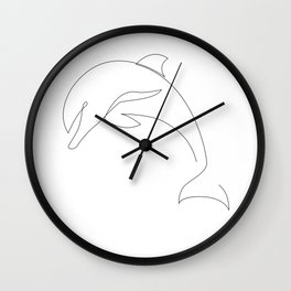 one line dolphin Wall Clock
