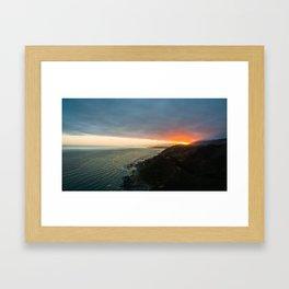 sunset over kaikoura mountains cloud carpet colors Framed Art Print