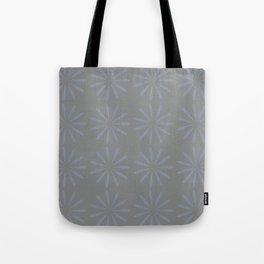 Blue Grey Floral Pattern Tote Bag