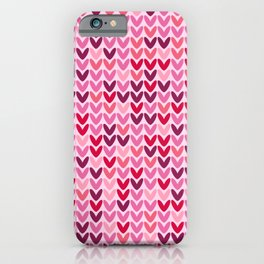 Cozy Valentine's pink hearts knit pattern iPhone Case