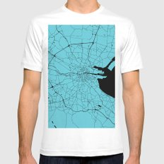 Dublin Ireland Turquoise on Black Street Map Mens Fitted Tee MEDIUM White