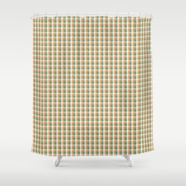 Small Orange White and Green Irish Gingham Check Plaid Shower Curtain