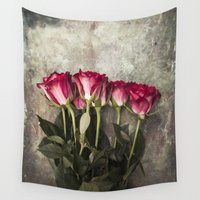 roses Wall Tapestries featuring Roses by Maria Heyens