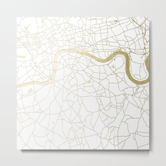 London White on Gold Street Map Metal Print