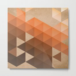 Warm Brown  -  Geometric Triangle Pattern Metal Print