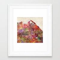 edinburgh Framed Art Prints featuring Edinburgh by MapMapMaps.Watercolors