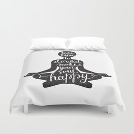 Meditation black silhouette with quote about time and soul on white background Duvet Cover