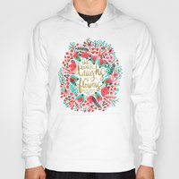 waldo Hoodies featuring The Earth Laughs in Flowers – Pink & Gold by Cat Coquillette