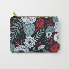 Red, Gray, Aqua & Navy Blue Floral/Botanical Pattern Carry-All Pouch