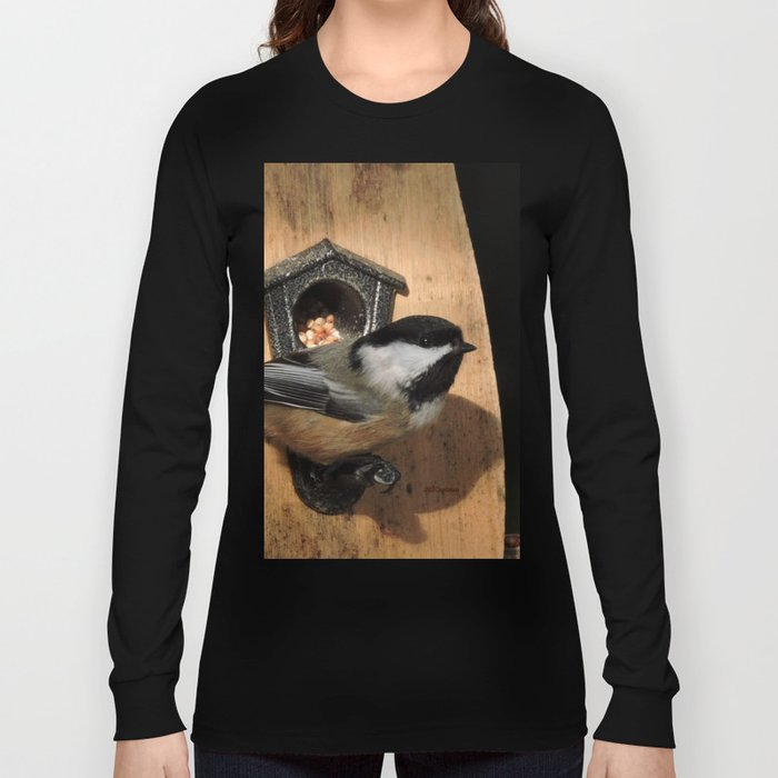 Black-Capped Chickadee at the Feeder Long Sleeve T-shirt