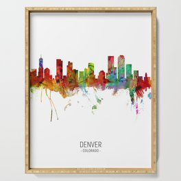Denver Colorado Skyline Serving Tray