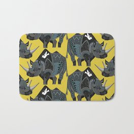rhinoceros yellow Bath Mat