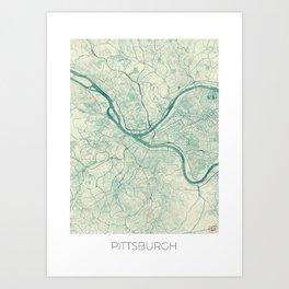 Pittsburgh Map Blue Vintage Art Print