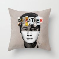 the godfather Throw Pillows featuring Godfather Mix 2 white by Marko Köppe