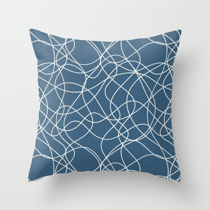 Off White Scribbled Lines Abstract Mosaic on Blue - 2020 Color Of The Year Chinese Porcelain Throw Pillow