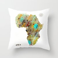 africa Throw Pillows featuring Africa by bri.buckley