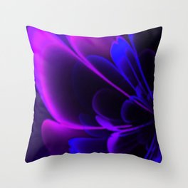 Stylized Half Flower Indigo Throw Pillow