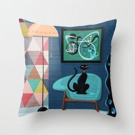 Creature Comforts Mid-Century Interior With Black Cat Throw Pillow