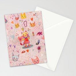 Kitty Hearts & Fashion Stationery Cards