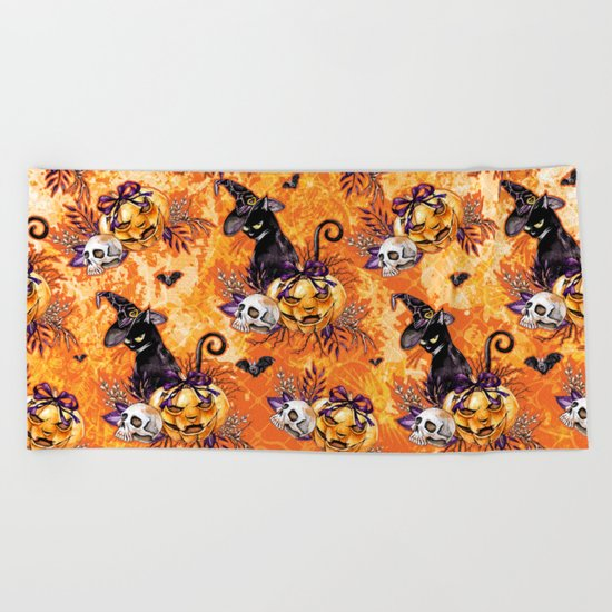 Halloween Witch #5 Beach Towel