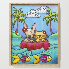 Dog and Cat Best Friends Beach Tropical Painting Kitty Chihuahua Serving Tray