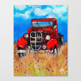 Uncle John's Old Truck Grandpa Red Work Truck Vintage Antique Farm Ranch Farmer Rancher Field Canvas Print