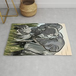 Elephant Mother And Calf Roaming In The Forest Rug