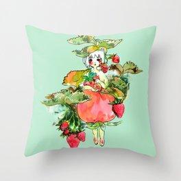 Picking Straberry採草莓 Throw Pillow