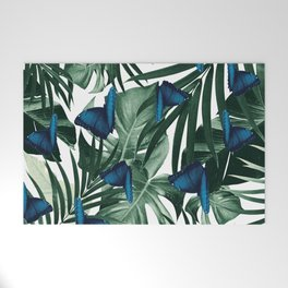 Tropical Butterfly Jungle Leaves Pattern #1 #tropical #decor #art #society6 Welcome Mat