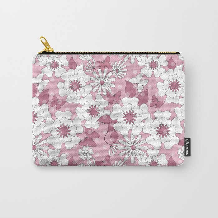 Delicate pink floral pattern. Carry-All Pouch