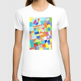 Playful Colorful Architectural Pattern T-shirt