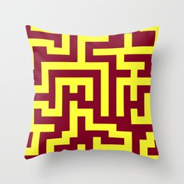 Electric Yellow and Burgundy Red Labyrinth Throw Pillow