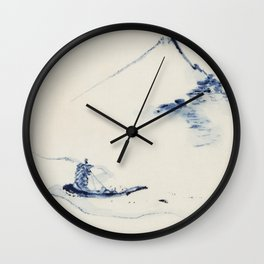 A Person in a Small Boat on a River with Mount Fuji in the Background by Hokusai Wall Clock