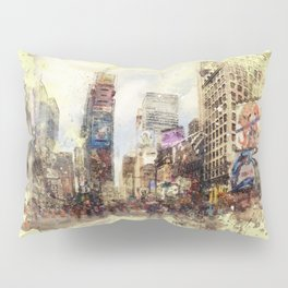 NYC Street watercolor Painting vintage rustic home decor wall art Brooklyn skyline Pillow Sham